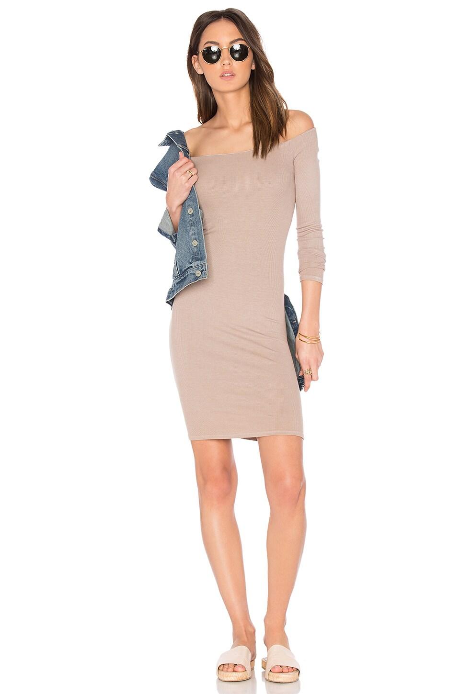 Rib Off Shoulder Mini Dress by Enza Costa