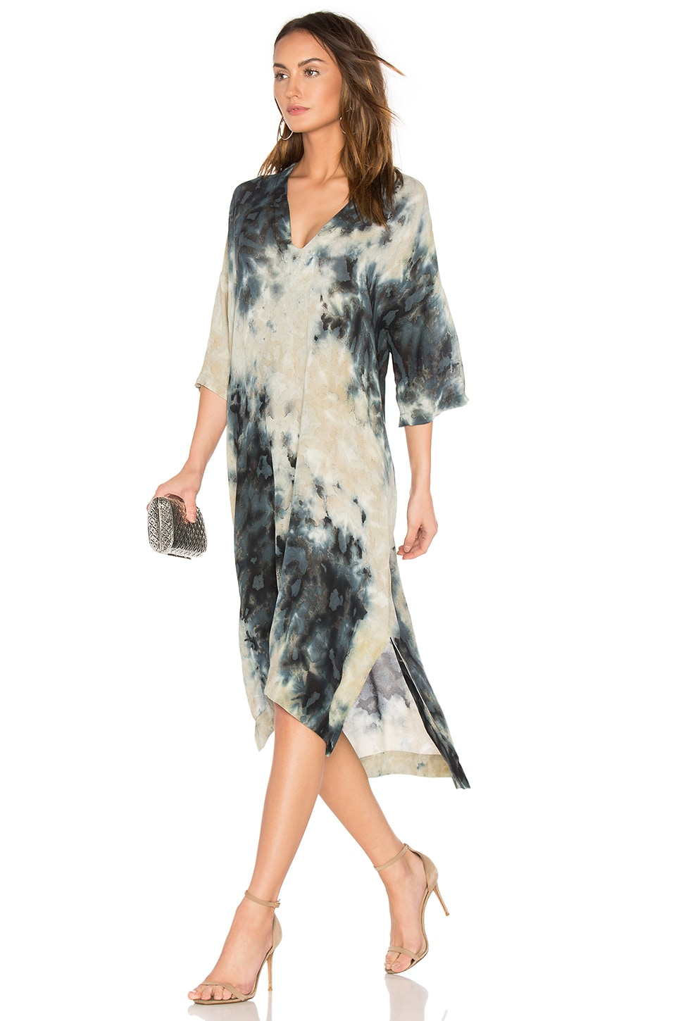 Short Sleeve V Neck Caftan by Enza Costa