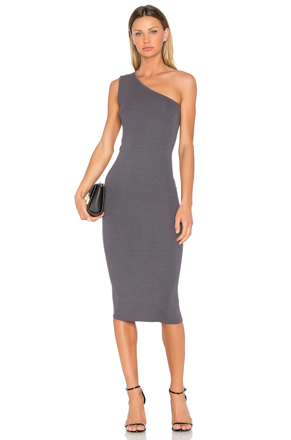 Enza Costa Rib One Shoulder Midi Dress in Castlerock