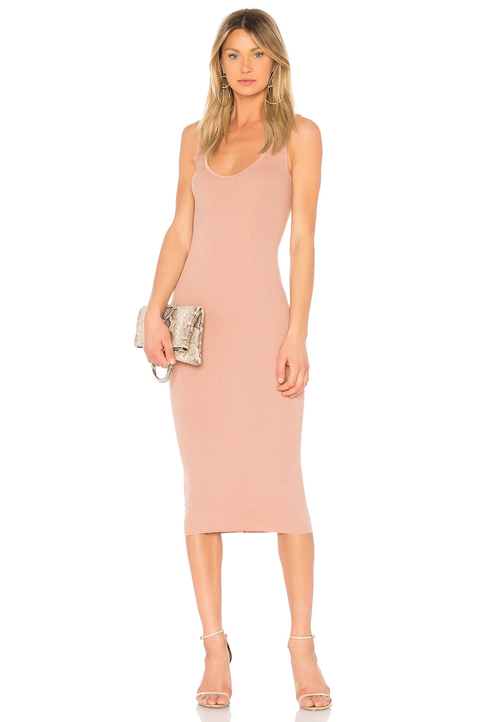 Rib Long Sleeve Dress in Blush. - size S (also in L,XS) Enza Costa