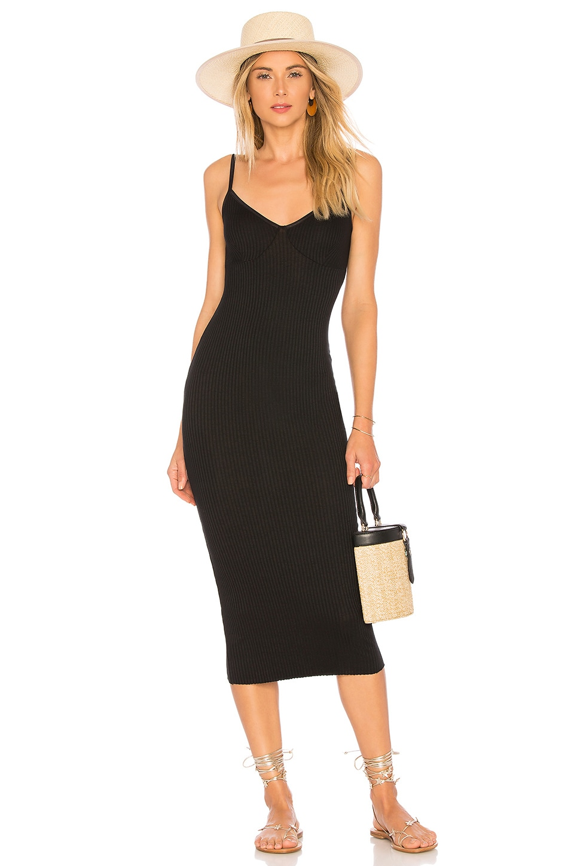 Enza Costa Strappy Tank Midi Dress in Black