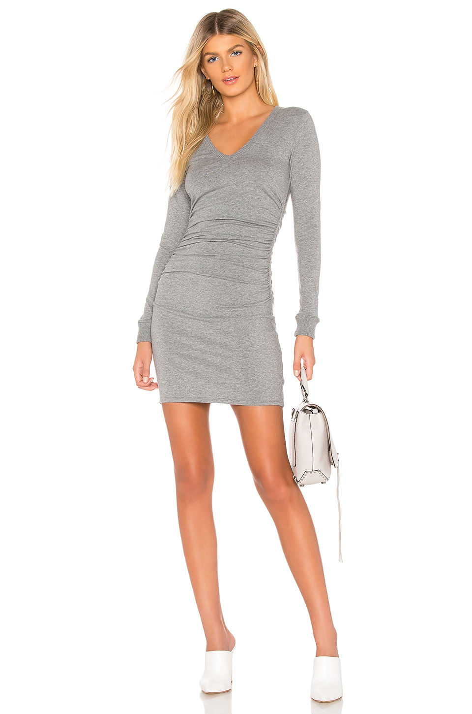 Cashmere V Neck Ruched Dress by Enza Costa