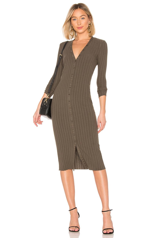 Enza Costa Rib Cardigan Midi Dress in Olive Drab