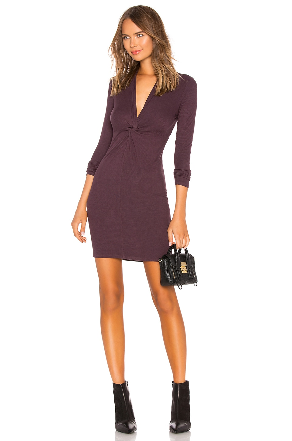 Enza Costa Silks ENZA COSTA RIB TWISTED MINI DRESS IN PURPLE.