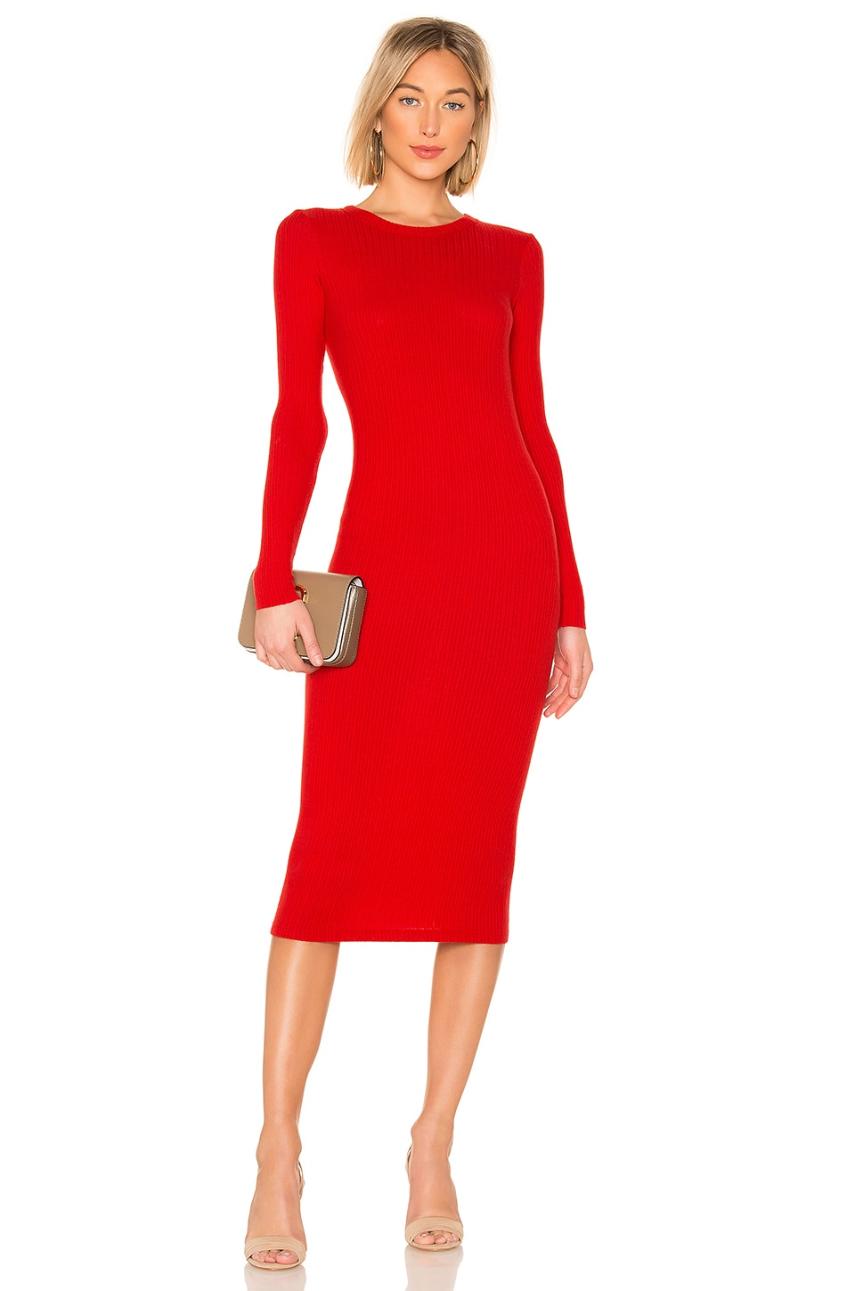 Enza Costa Rib Keyhole Midi Dress in Iconic Red