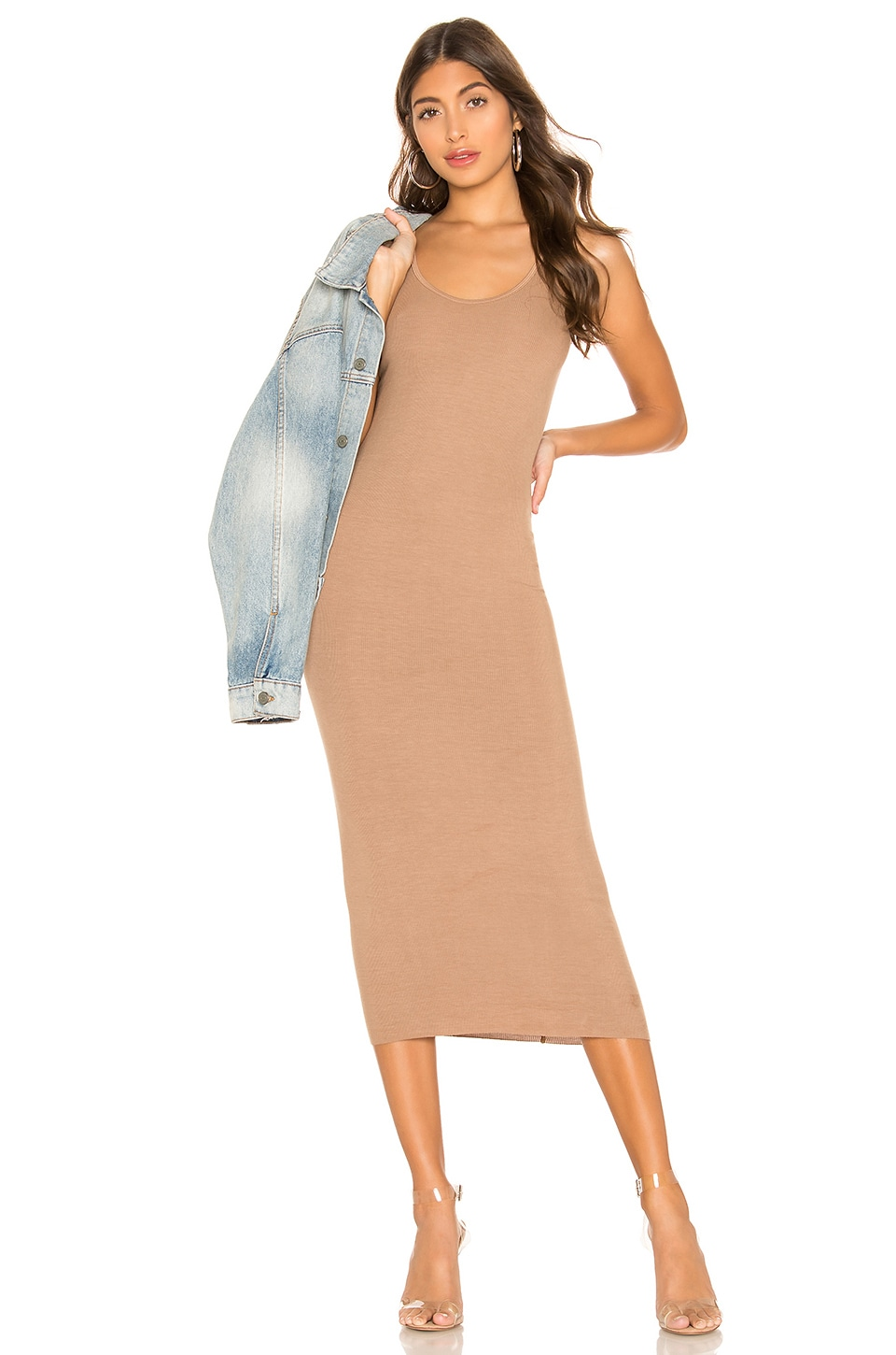 Enza Costa Rib Tank Midi Dress in Tan