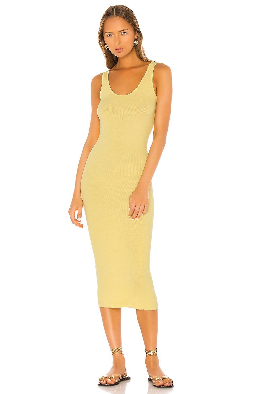 Enza Costa Rib Tank Midi Dress in Lemongrass