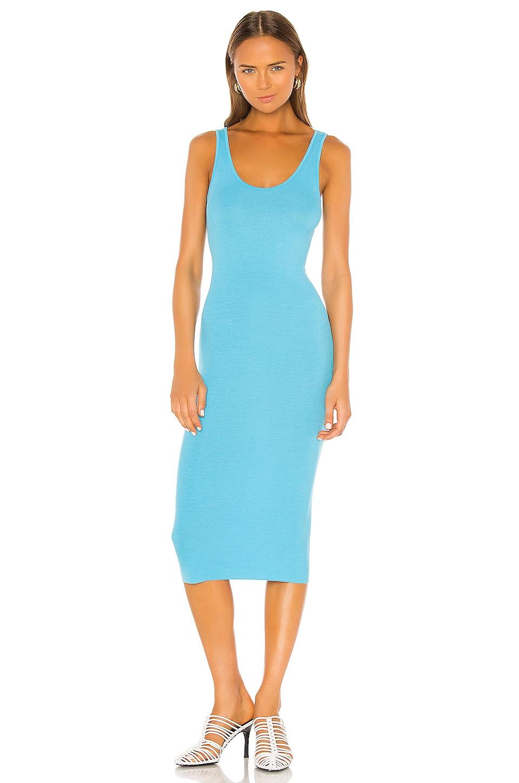 Enza Costa Rib Tank Midi Dress in Turquoise