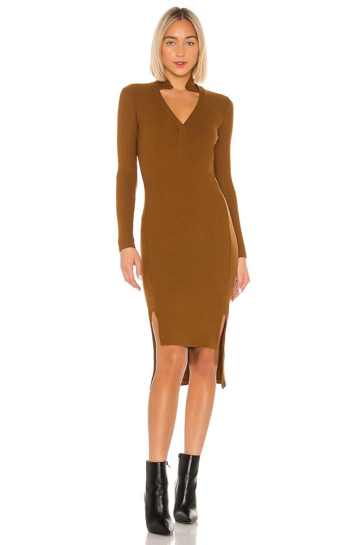 Enza Costa Rib Long Sleeve Step Hem Dress in Cognac