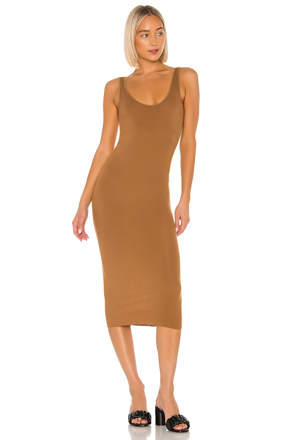 Enza Costa Rib Tank Midi Dress in Danish Brown