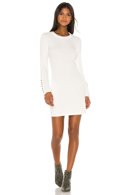 Enza Costa Button Cuff Mini Dress in Winter White