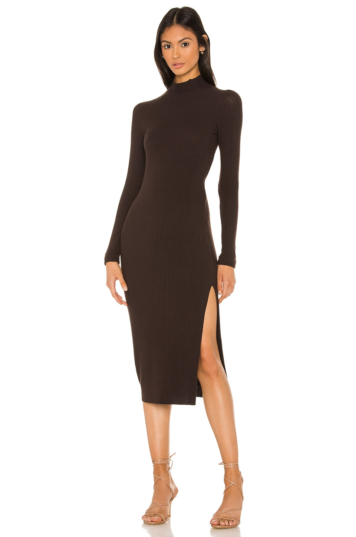 Enza Costa Brushed Rib Long Sleeve Raglan Midi Dress in Bitter Brown