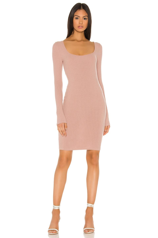 Enza Costa Brushed Rib Square Neck Mini Dress in Plastic Pink