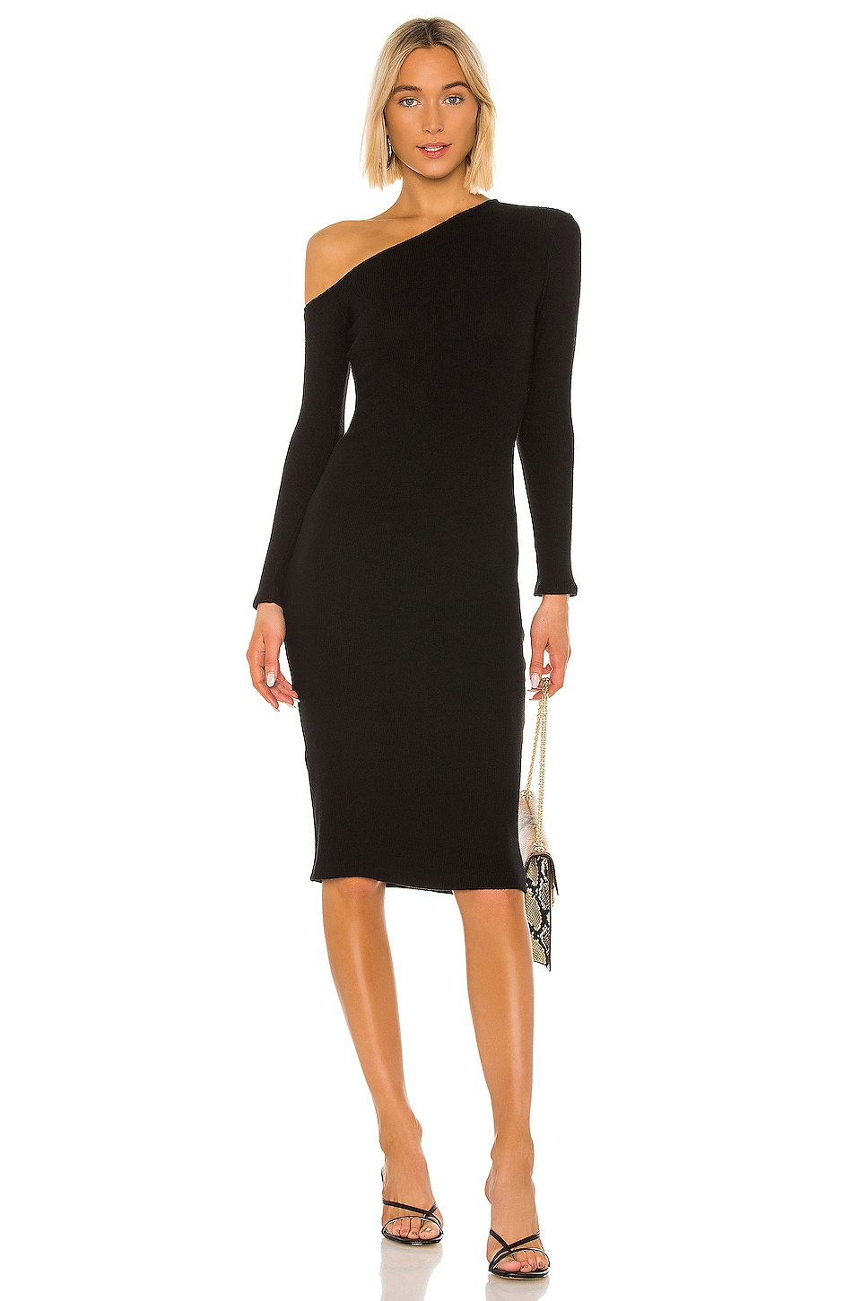 Enza Costa Sweater Knit Angled Midi Dress in Black