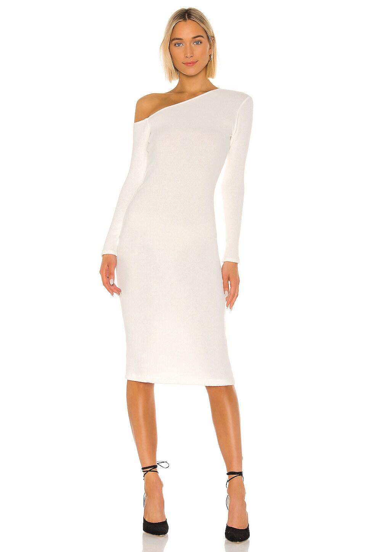 Enza Costa Sweater Knit Angled Neck Midi Dress in Winter White