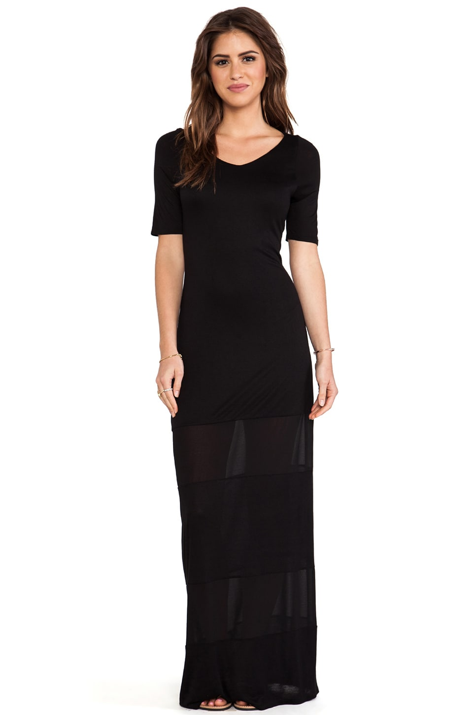 Enza Costa Chiffon Panel Maxi Dress in Black