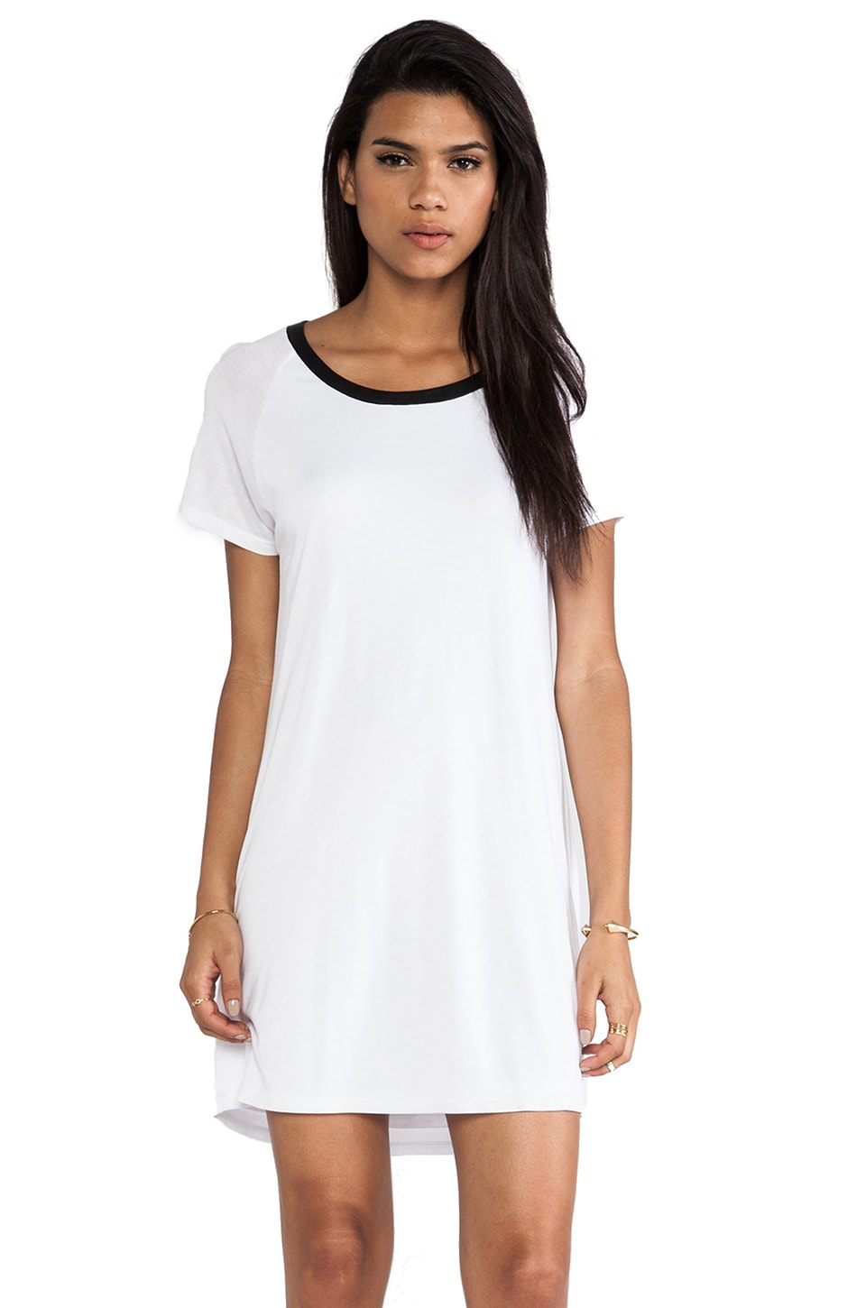Enza Costa Short Sleeve Raglan Dress in White