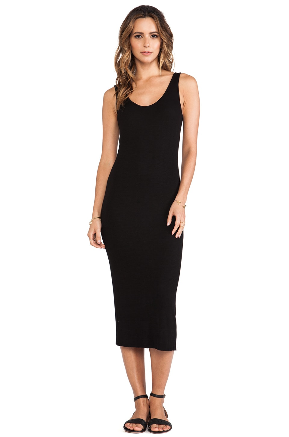 Enza Costa Silk Rib Tank Dress in Black