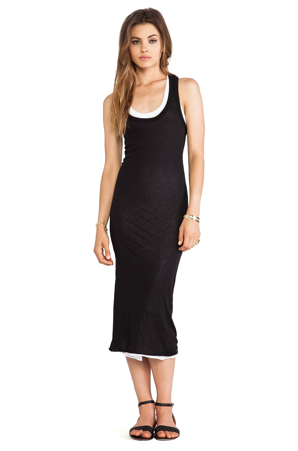 Enza Costa Tissue Jersey Doubled Dress in Black & White