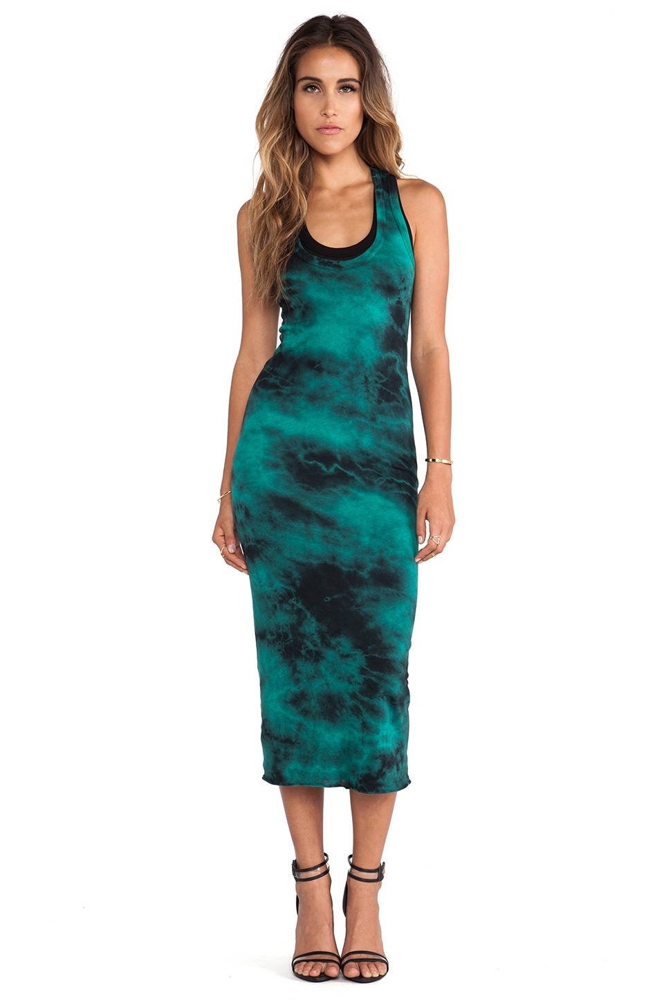 Enza Costa Ionic Wash Bold Doubled Tank Dress in Emerald & Black