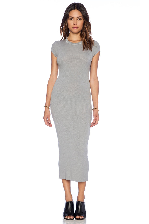 Enza Costa Rib Cap Sleeve Dress in Cement
