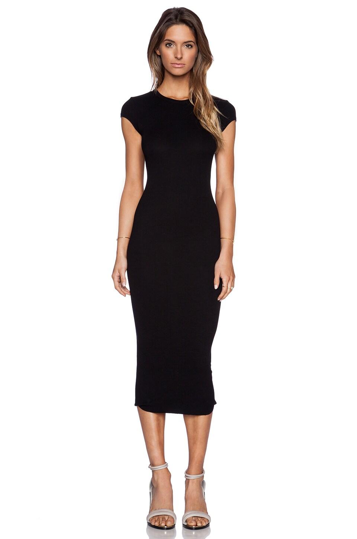 Enza Costa Rib Cap Sleeve Dress in Black