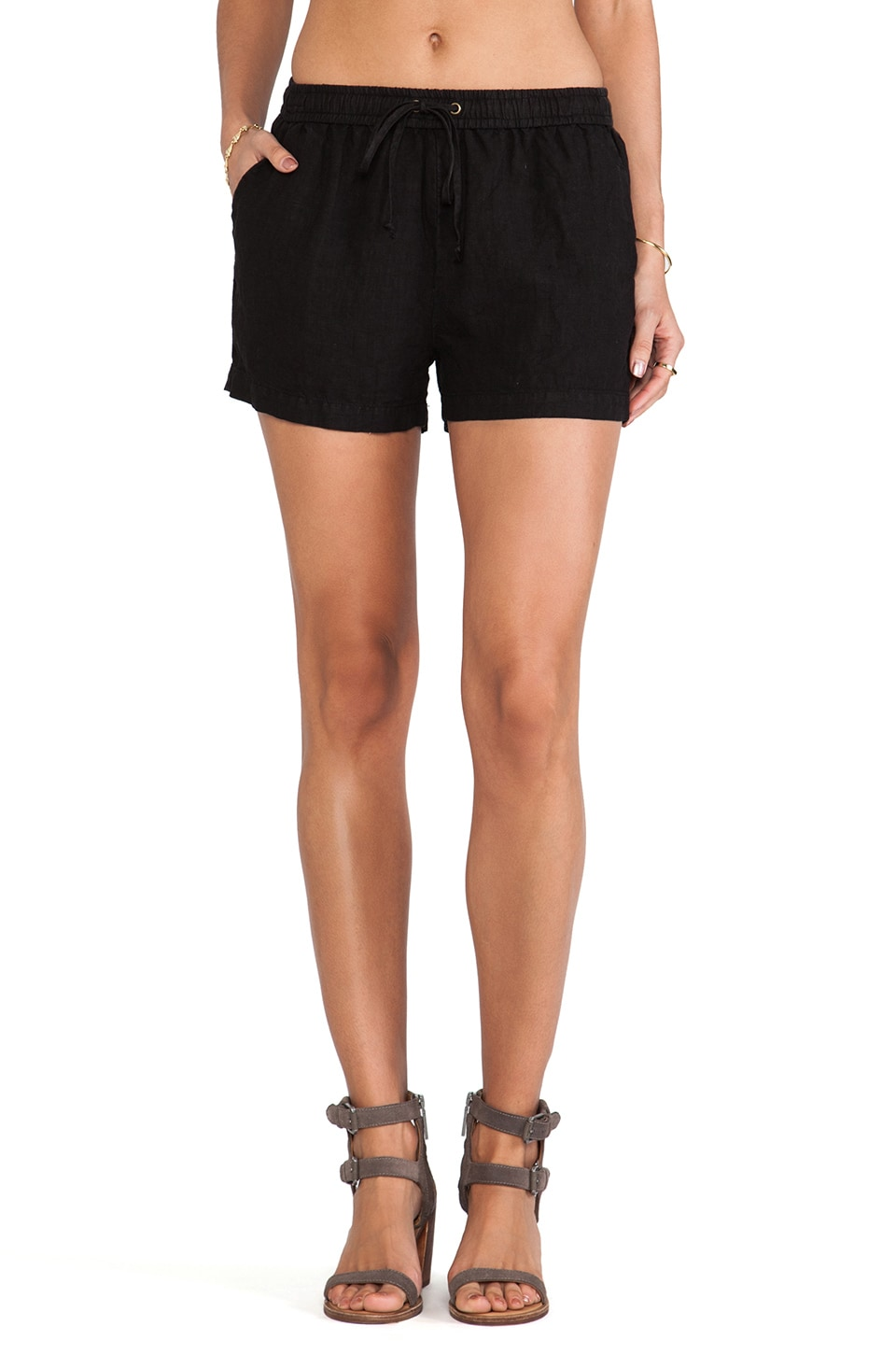 Enza Costa Linen Utility Short in Black