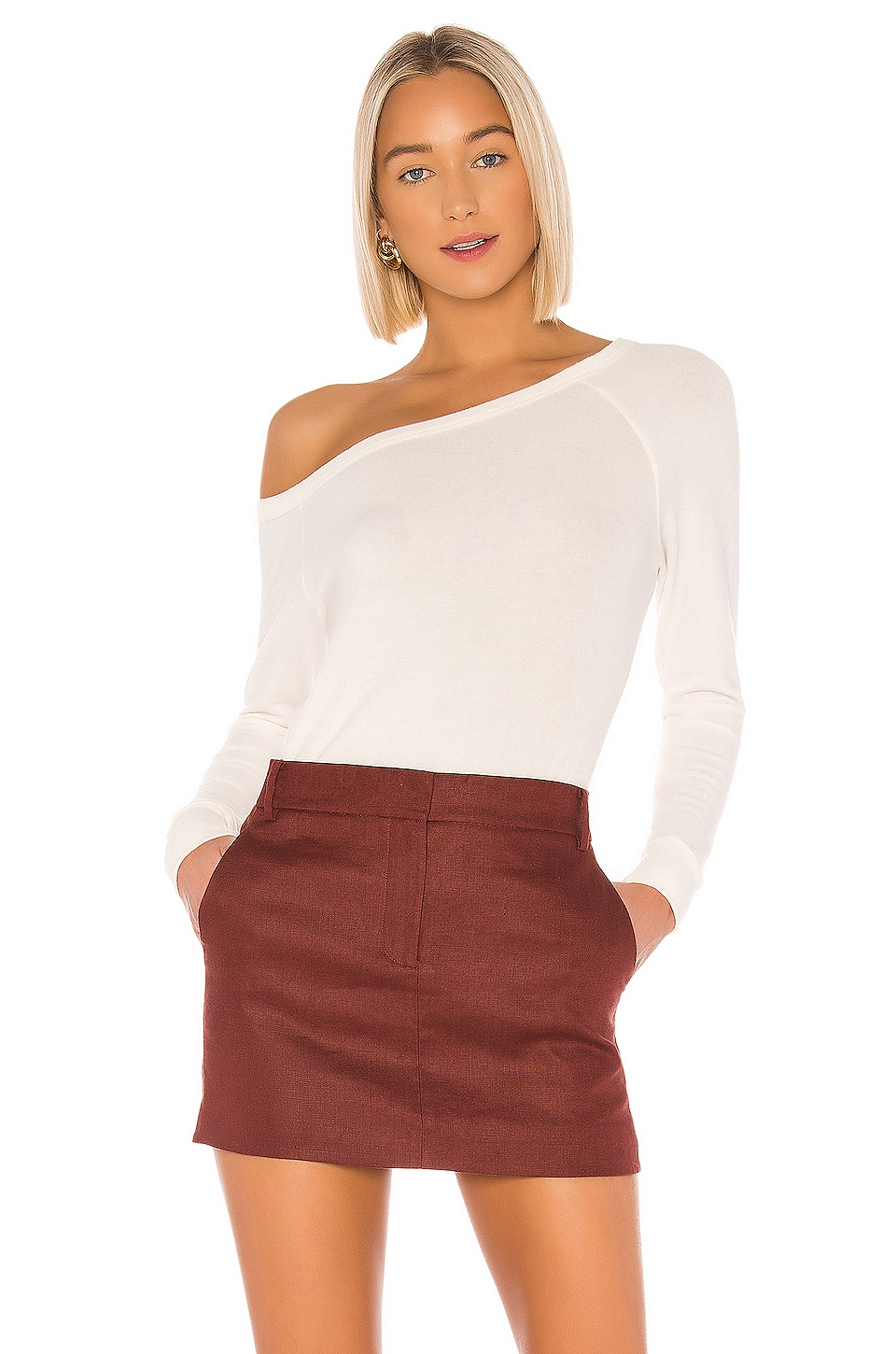 Enza Costa Peached Off The Shoulder Long Sleeve in Winter White