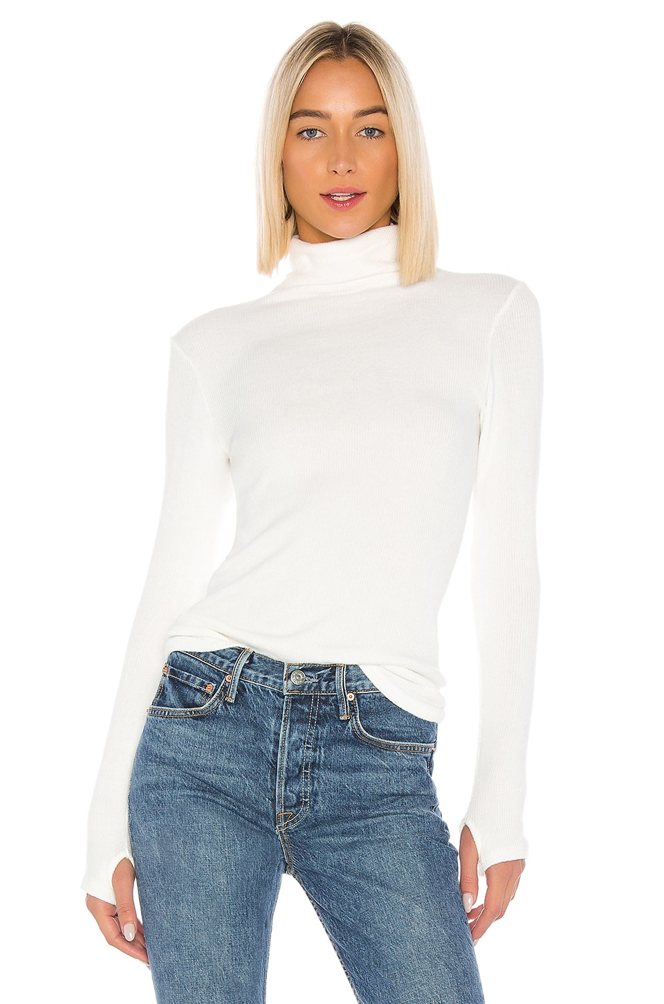 Enza Costa Long Sleeve Turtleneck in Winter White