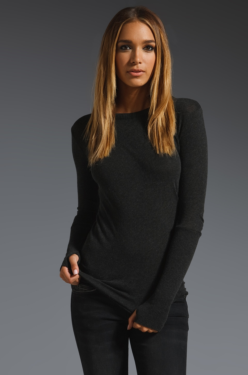 Enza Costa Cashmere Fitted Cuffed Crew Neck Sweater in Charcoal