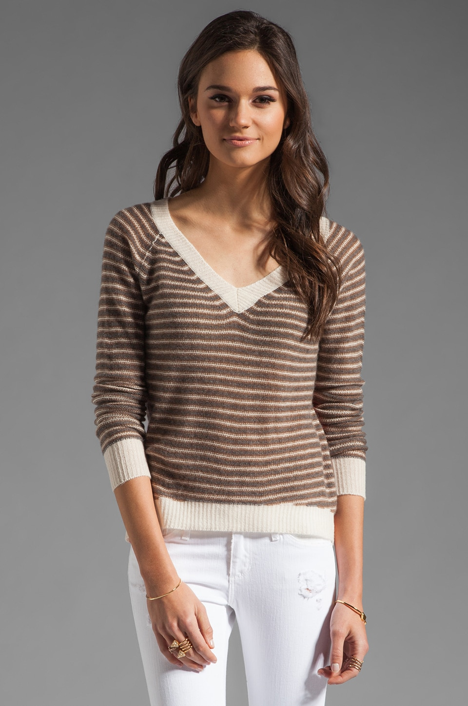 Enza Costa Cashmere V Neck in Stripe/Colorblock