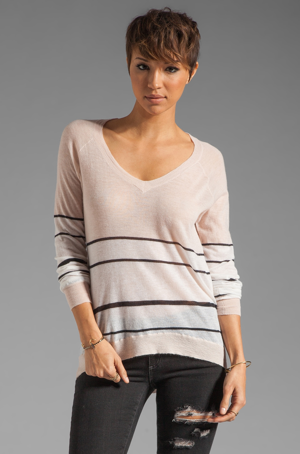 Enza Costa Cashmere Colorblock V in Pink Tint/Stripe