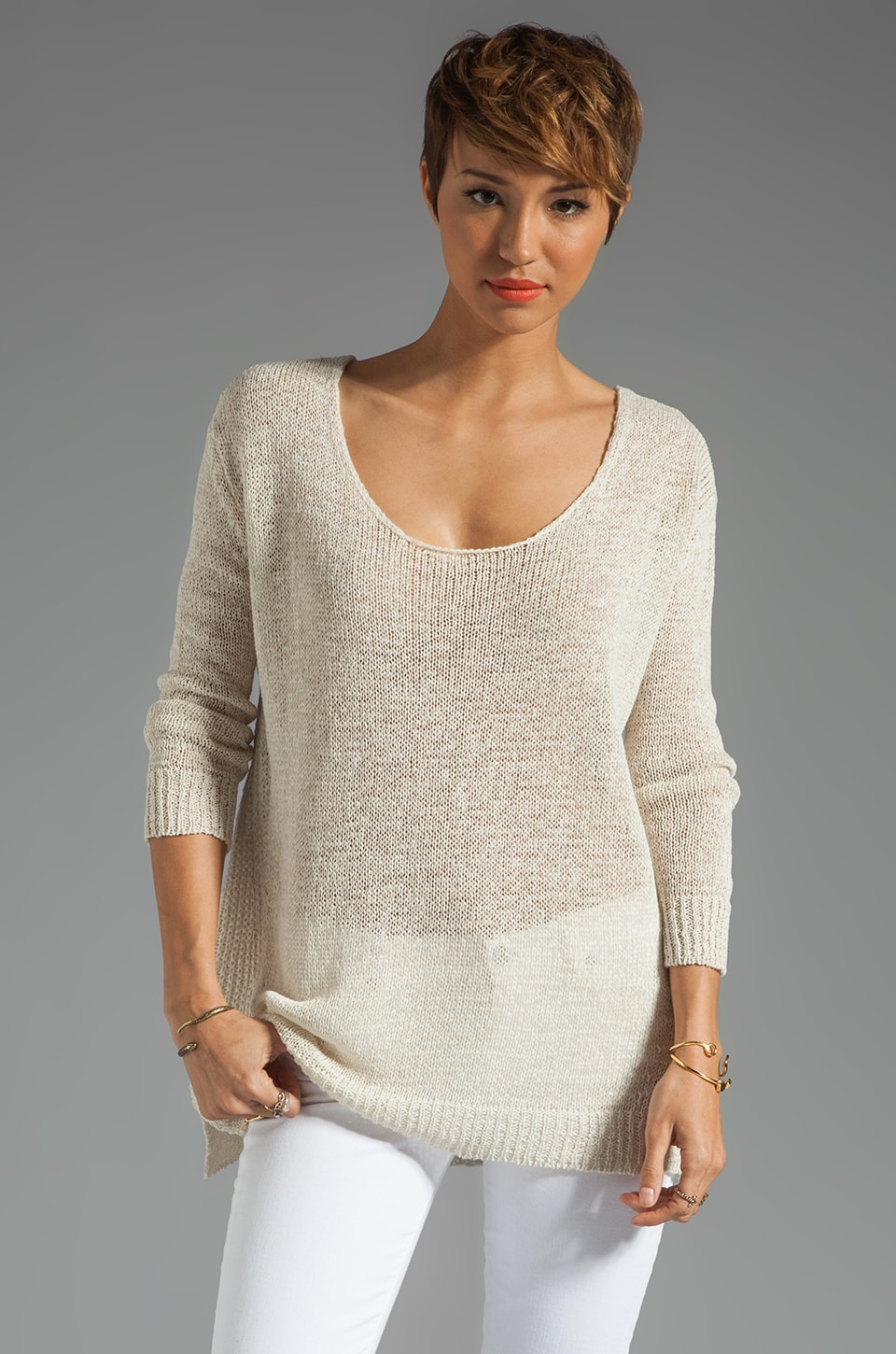 Enza Costa Linen Knit Tape Sweater in Moon White