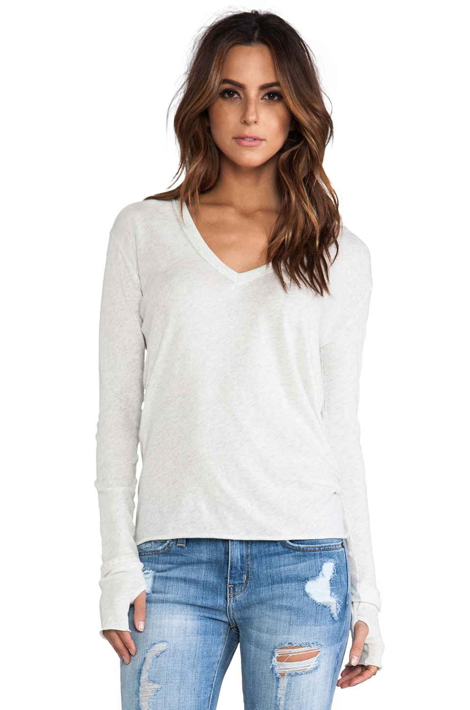 Enza Costa Cashmere Loose V Sweater in Ash