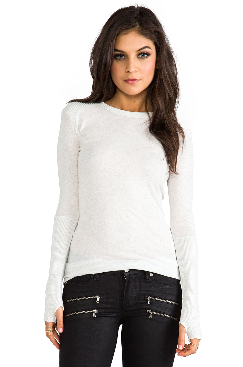 Enza Costa Cashmere Moto Pullover Sweater in Ash