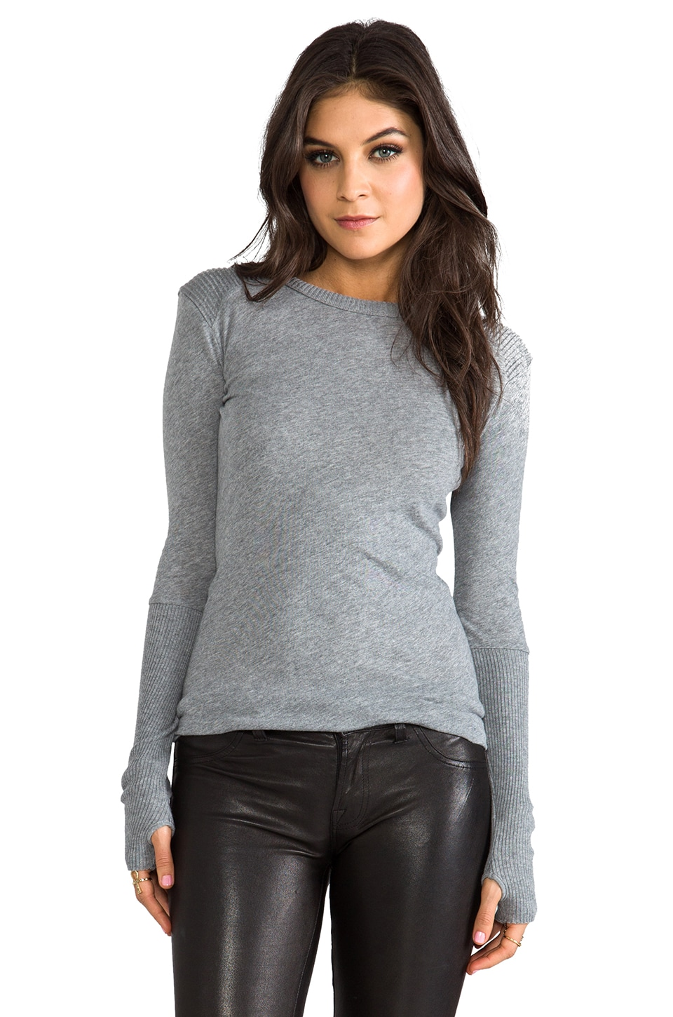 Enza Costa Cashmere Moto Pullover Sweater in Smoke