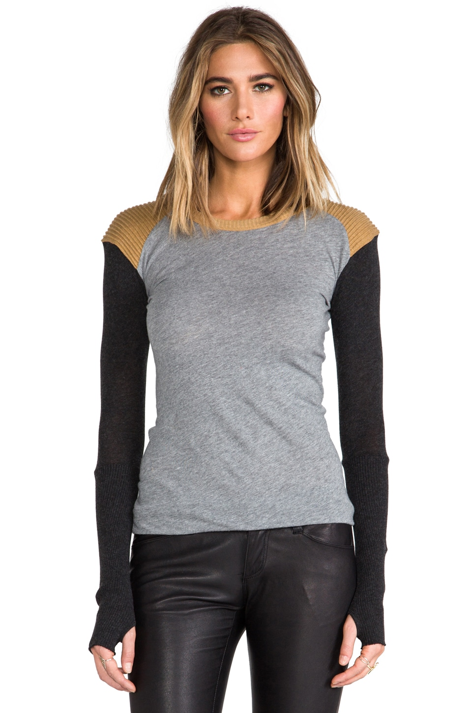 Enza Costa Cashmere Colorblock Crew in Ash/Smoke/Charcoal