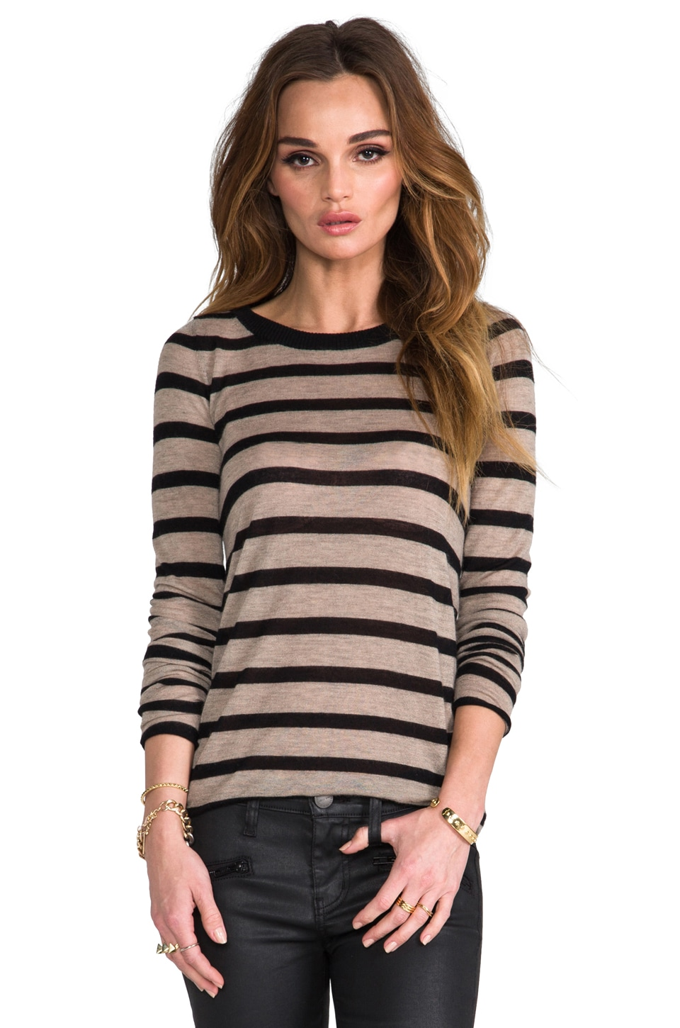 Enza Costa Cashmere Stripe Bold Crew in Camel/Black