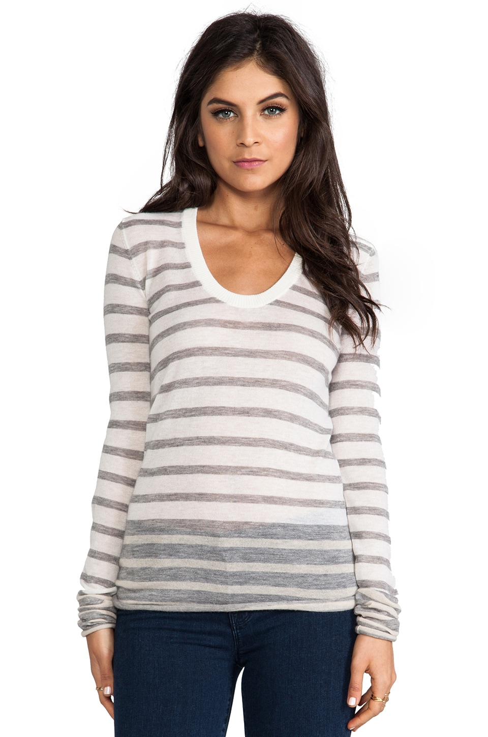 Enza Costa Cashmere Stripe Bold Sweater in Bleach & Grey