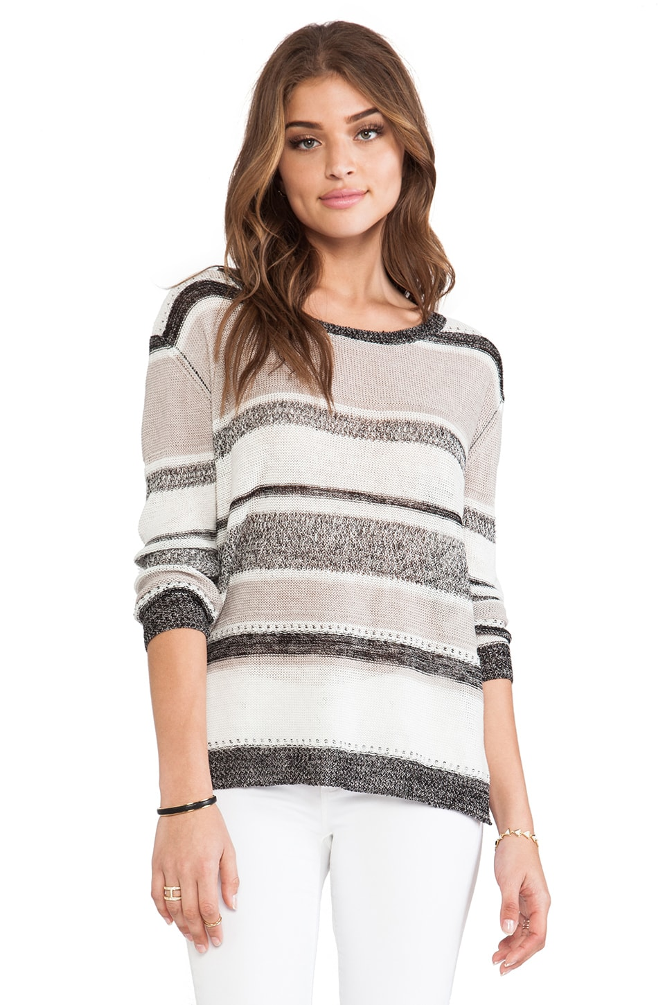 Enza Costa Linen Gauze Stripe Scoop Sweater in Varigated Stripe