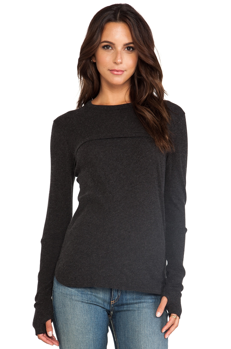 Enza Costa Cashmere Concave Sweater in Charcoal