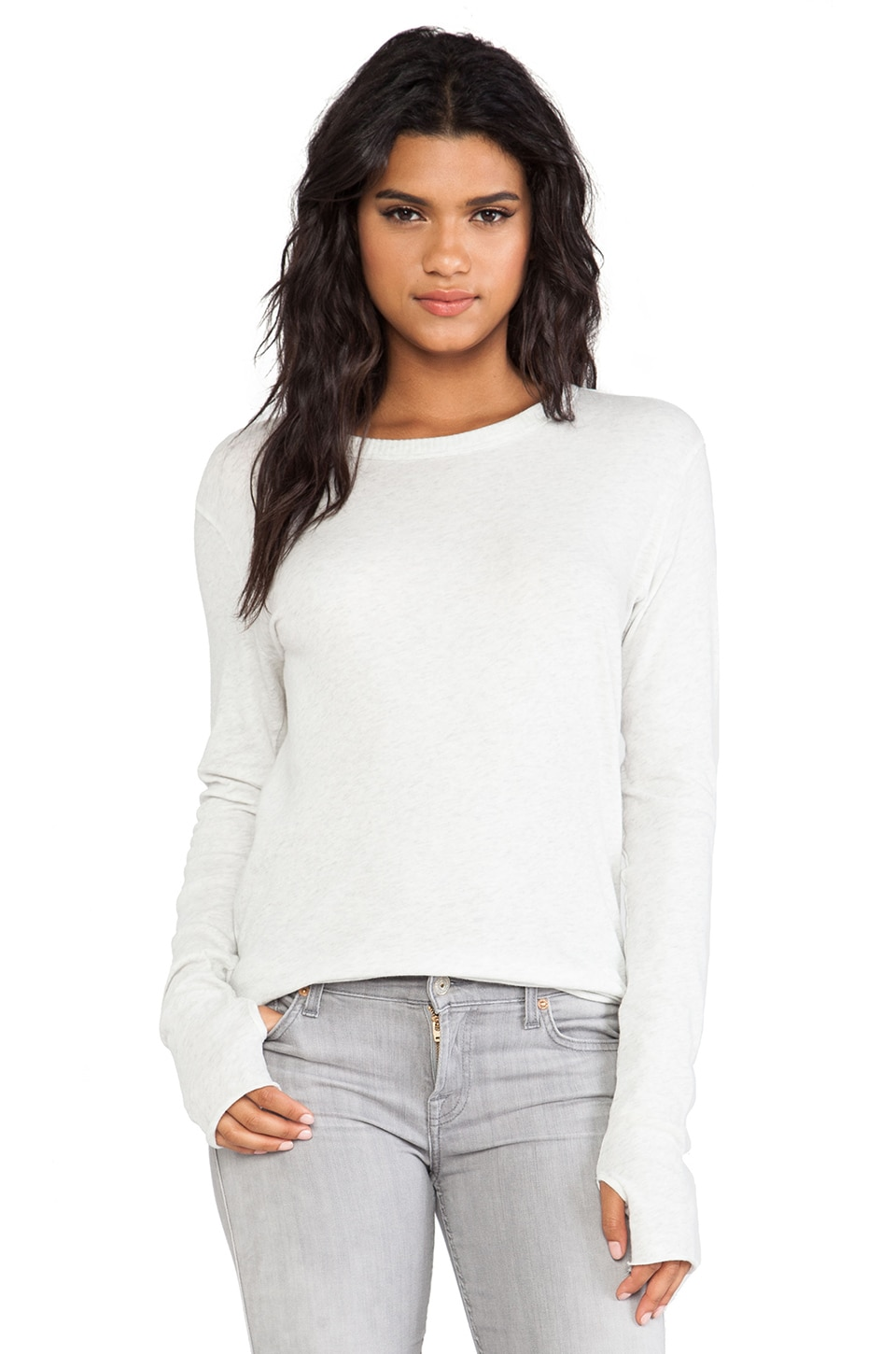 Enza Costa Cashmere Loose Crew in Ash
