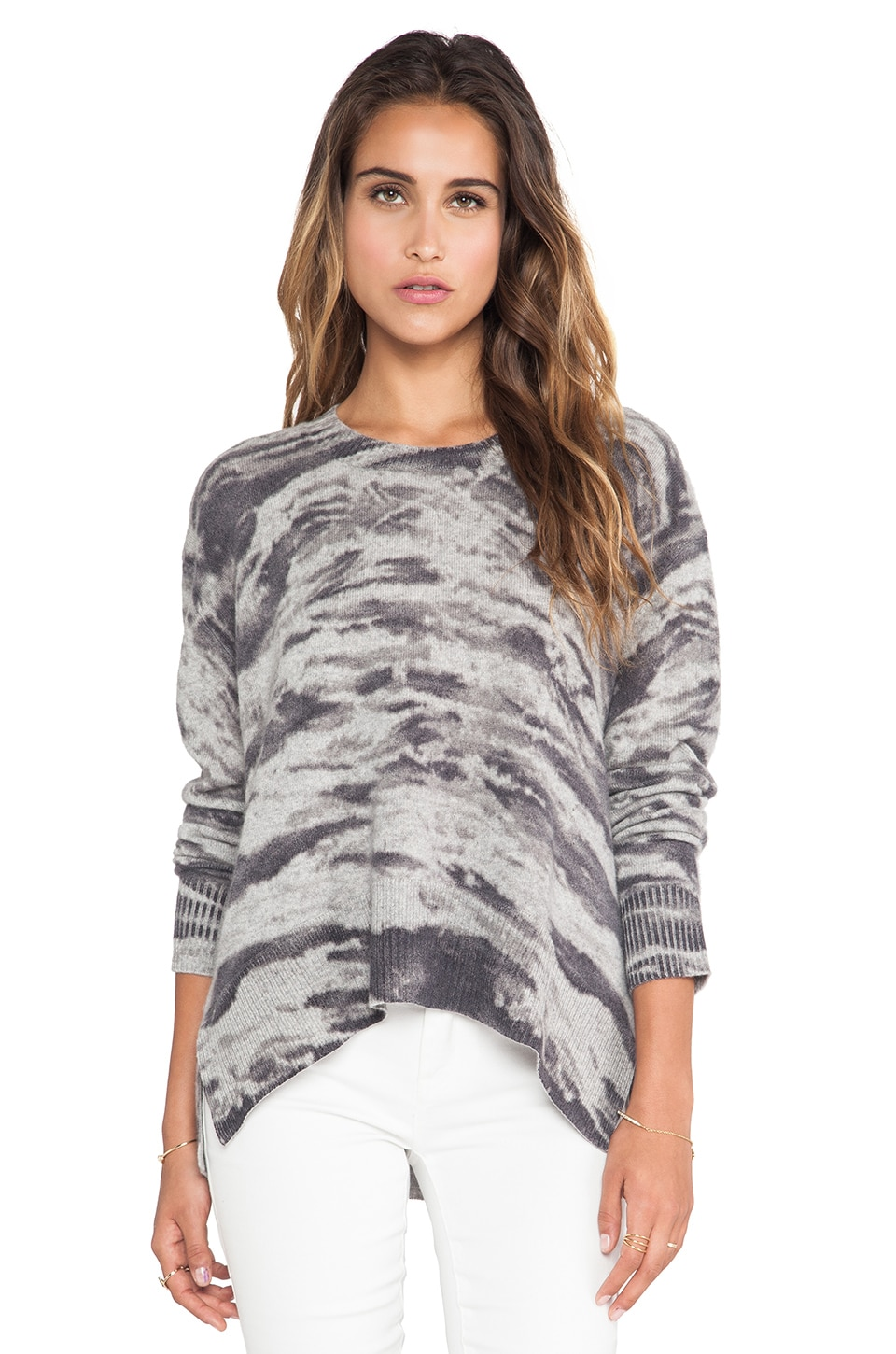Enza Costa Cashmere Printed Loose Crew Sweater in Grey Costae