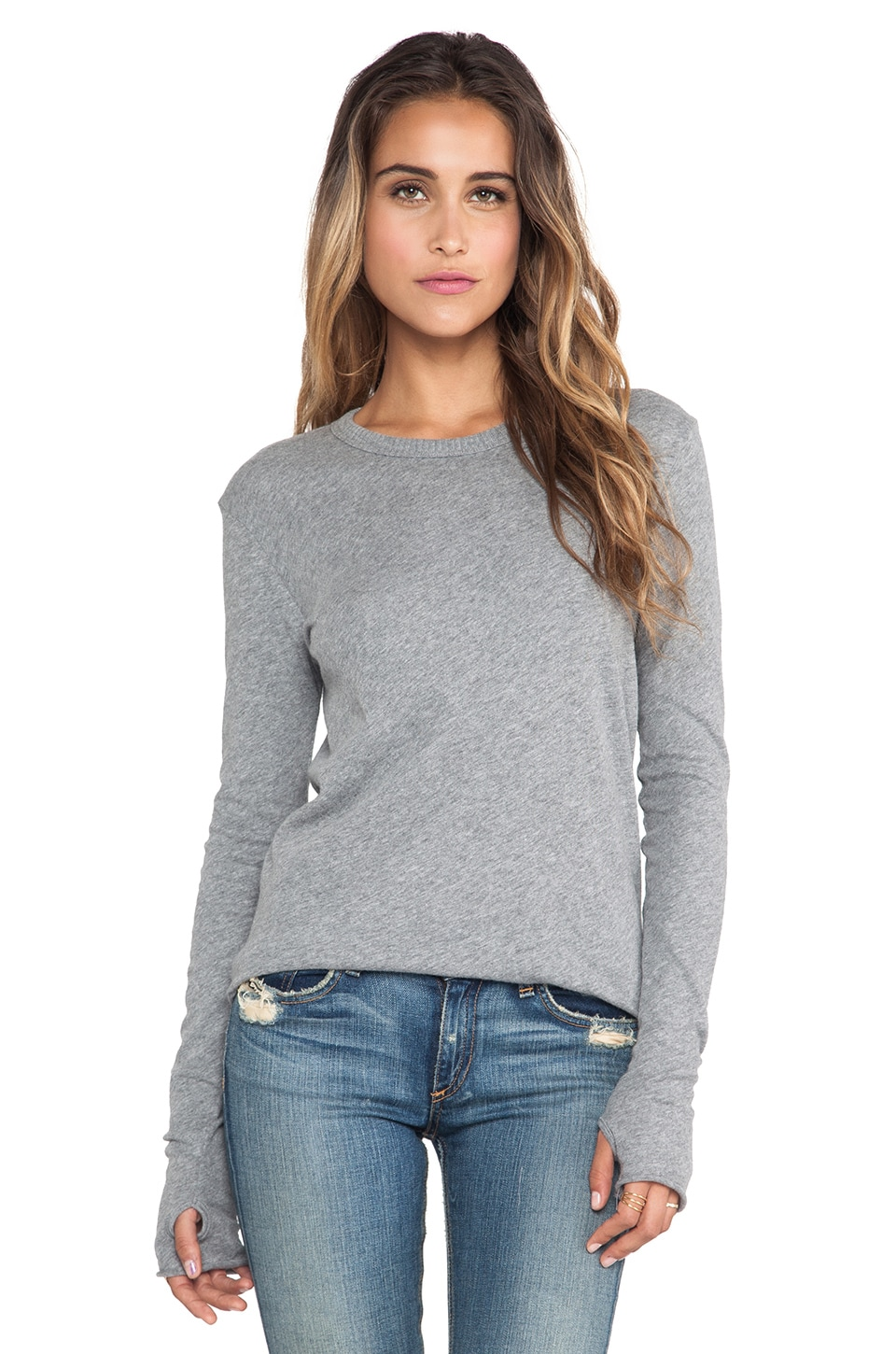 Enza Costa Cashmere Jersey Loose Crew in Smoke