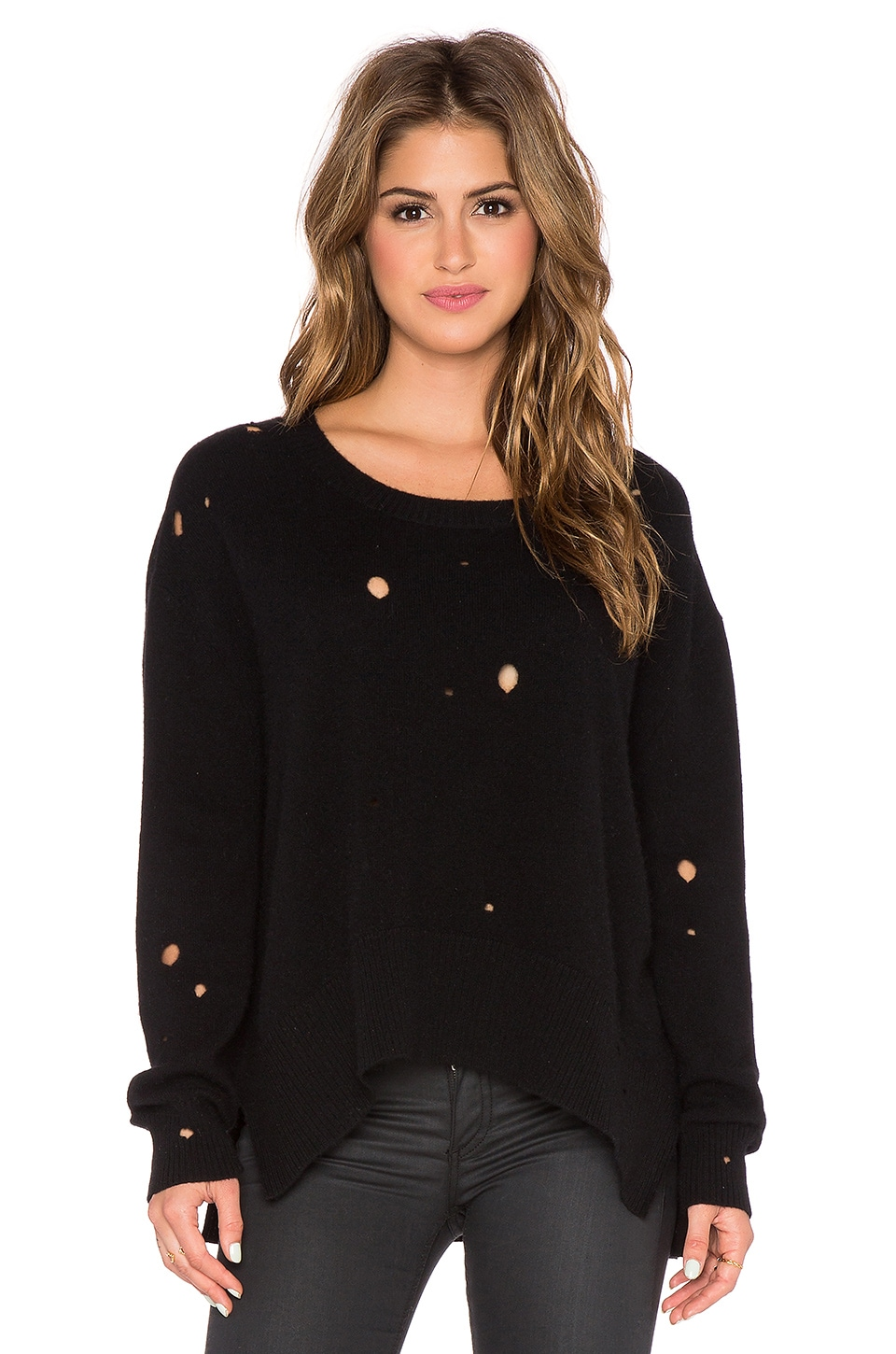 Enza Costa Cashmere Oversized Sweater in Black