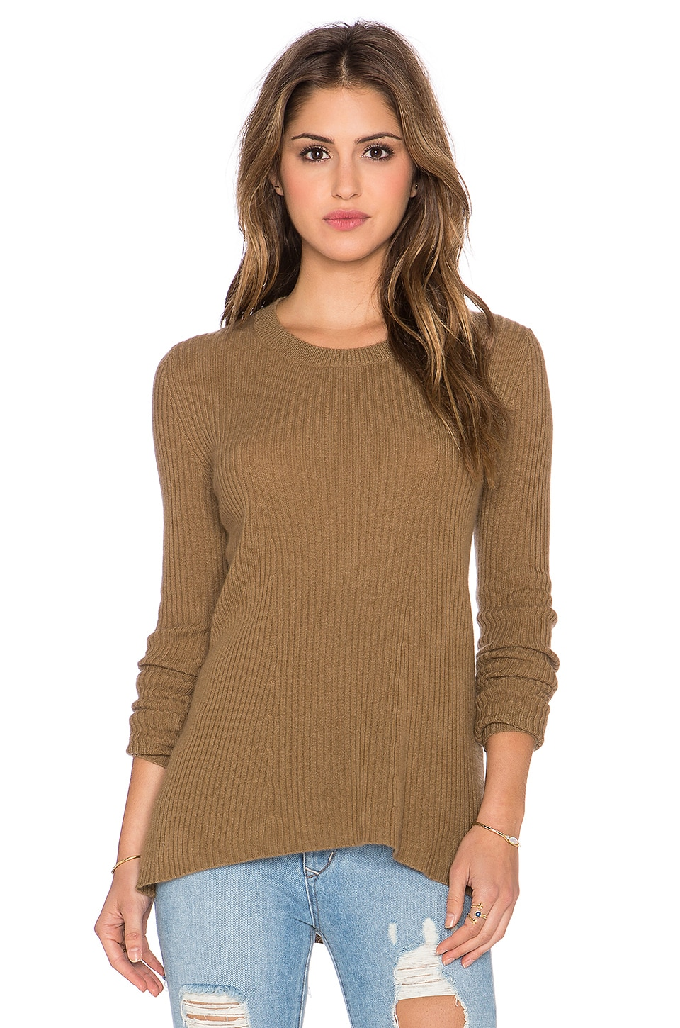 Enza Costa Cashmere Flare Sweater in Dark Camel