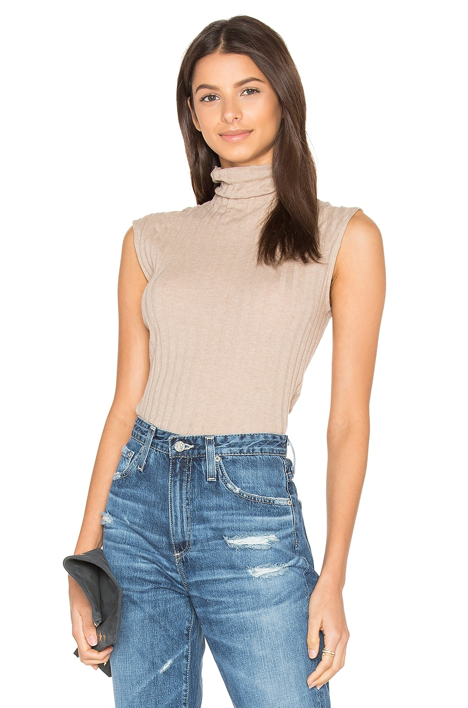 Cashmere Rib Sleeveless Turtleneck Sweater by Enza Costa