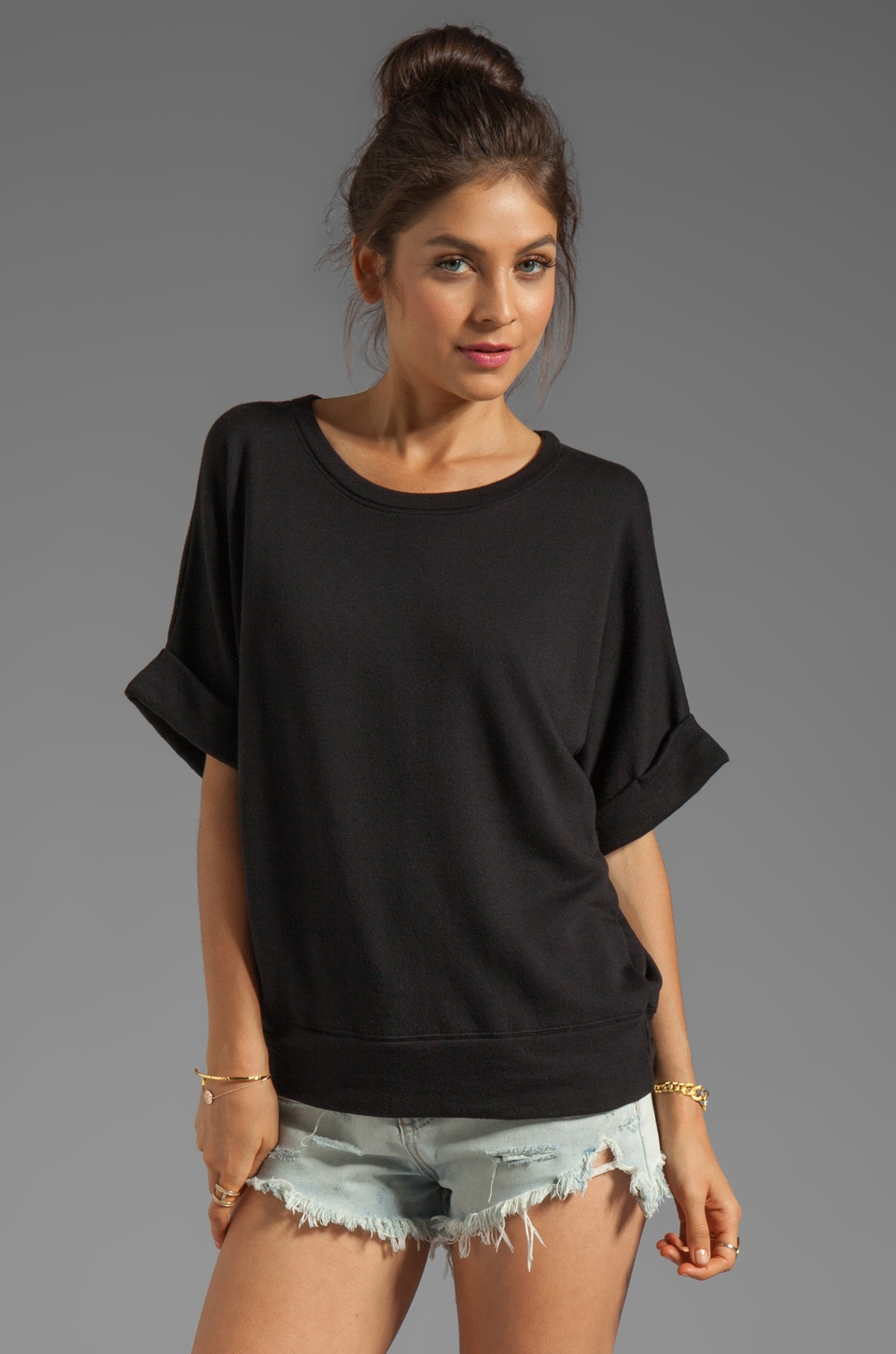 Enza Costa Cashmere French Terry Short Sleeve Sweatshirt in Black