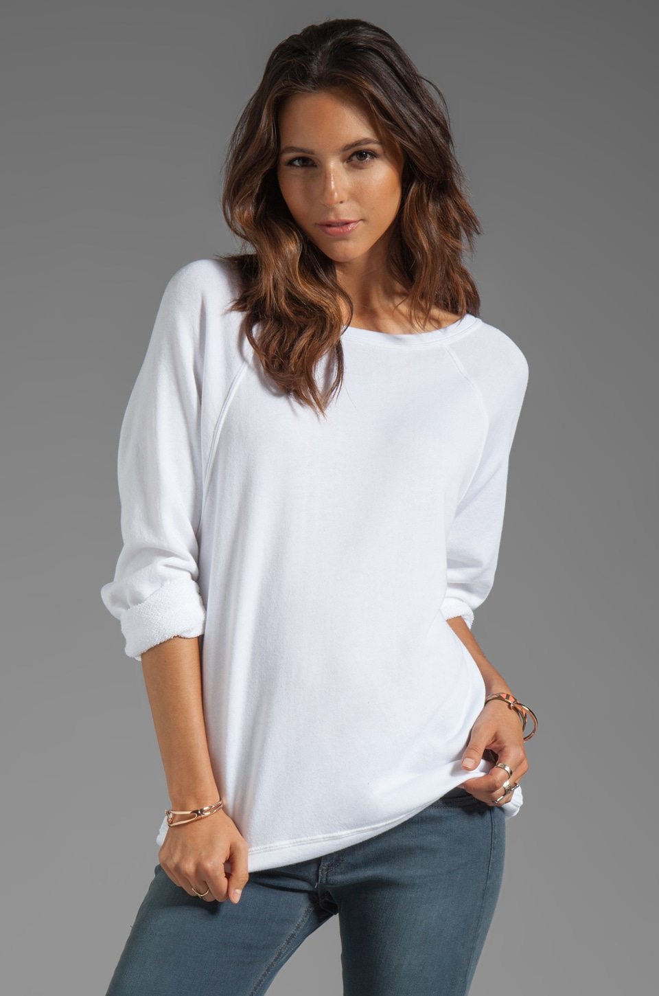 Enza Costa Cashmere French Terry Long Sleeve Raglan Sweatshirt in White