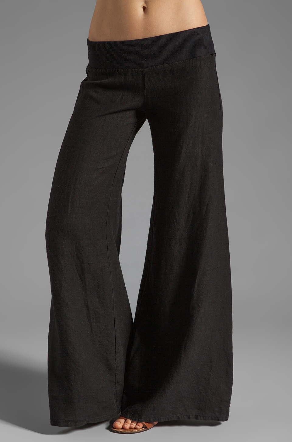 Enza Costa Linen Wide Leg Pant in Black